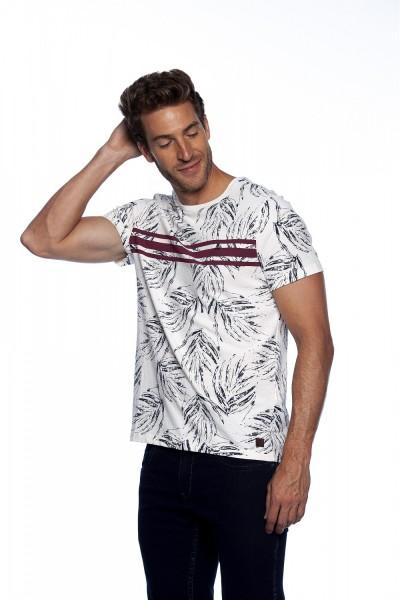 Camiseta Casual Bege Folhagens